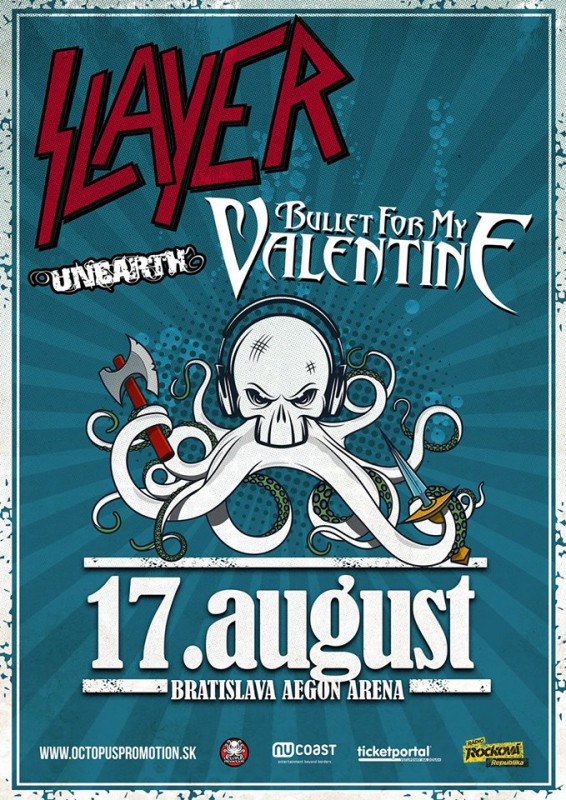 SLAYER, BULLET FOR MY VALENTINE a UNEARTH